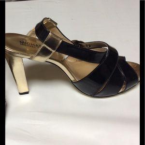Michael Kors Black and Gold Platform Heels